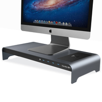 Aluminum Monitor Stand Wireless Charging Riser 4 USB Ports Keyboard and Mouse Storage Desk Organizer for Computer PC and laptops
