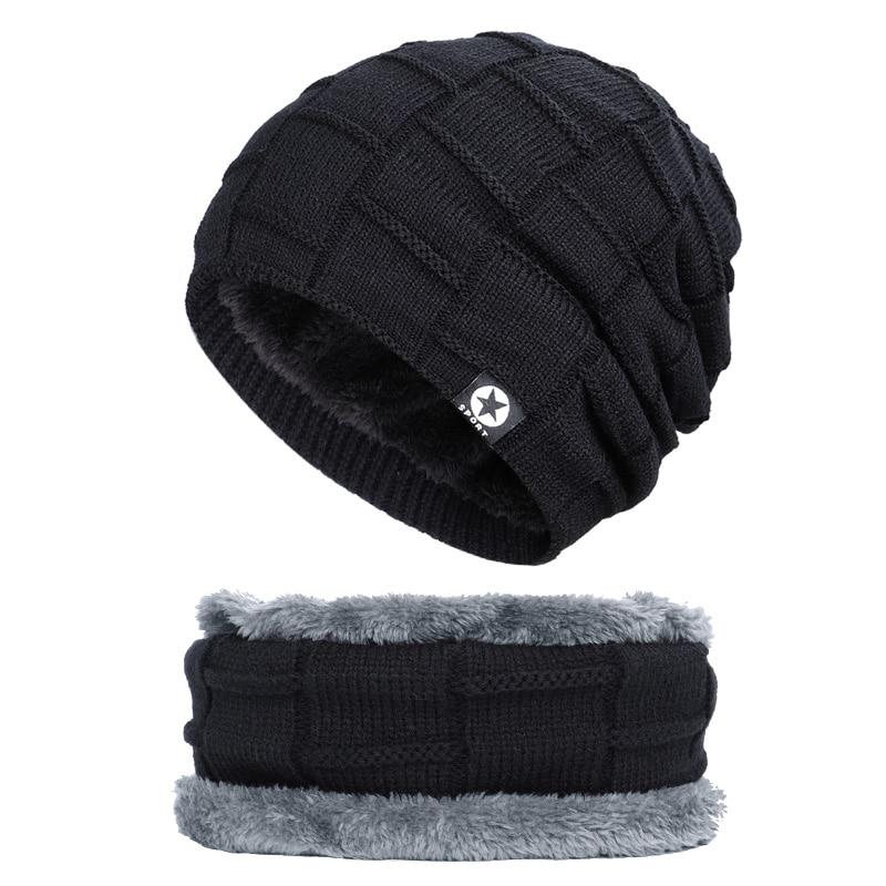 Зимняя мужская шапка с пятизвездочными звездами, шарф плюс бархатная мужская вязаная шапка, Теплая Лыжная маска, маска, головной платок, шапка, высококачественный хлопковый нагрудник, модная новинка - Цвет: Black-1