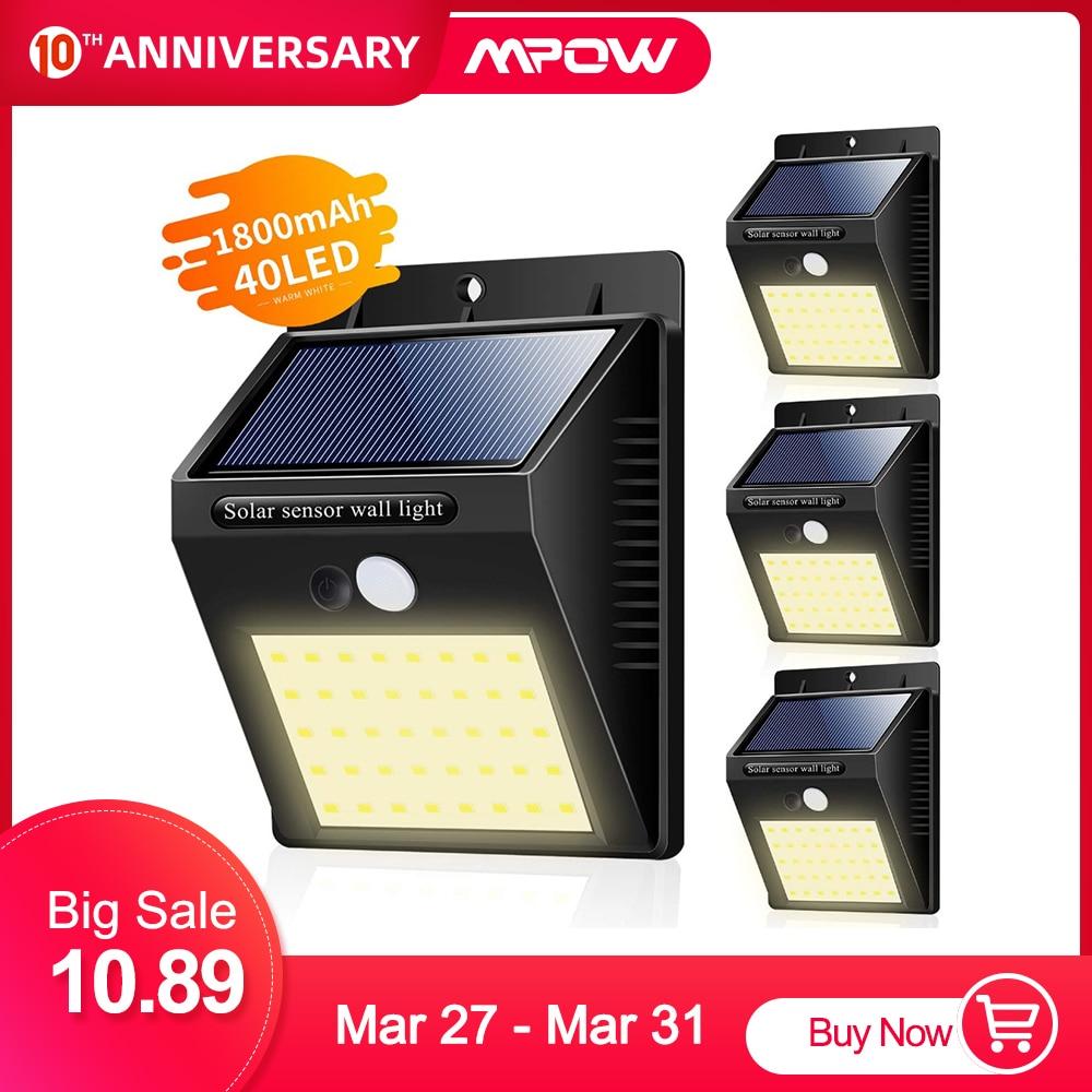 1/2/4 Pcs Solar Lights Outdoor 40 LED Warm White Solar Motion Sensor Lights Waterproof Wireless Solar Security Lights for Garden|Solar Lamps| |  -
