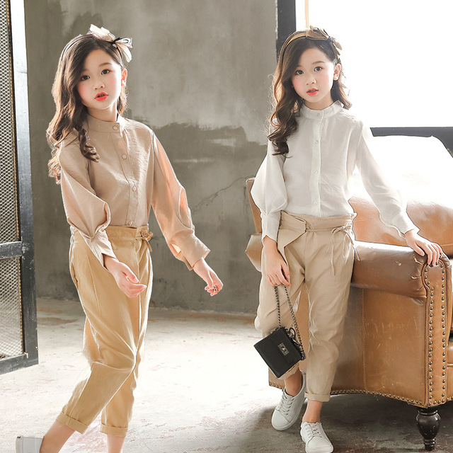 Spring Girls Clothing Set Girl Suit Teens Blouse +Pants Trousers Two-piece Suit 3-15Y Baby Big Girls Blouse Clothing Sets CA163