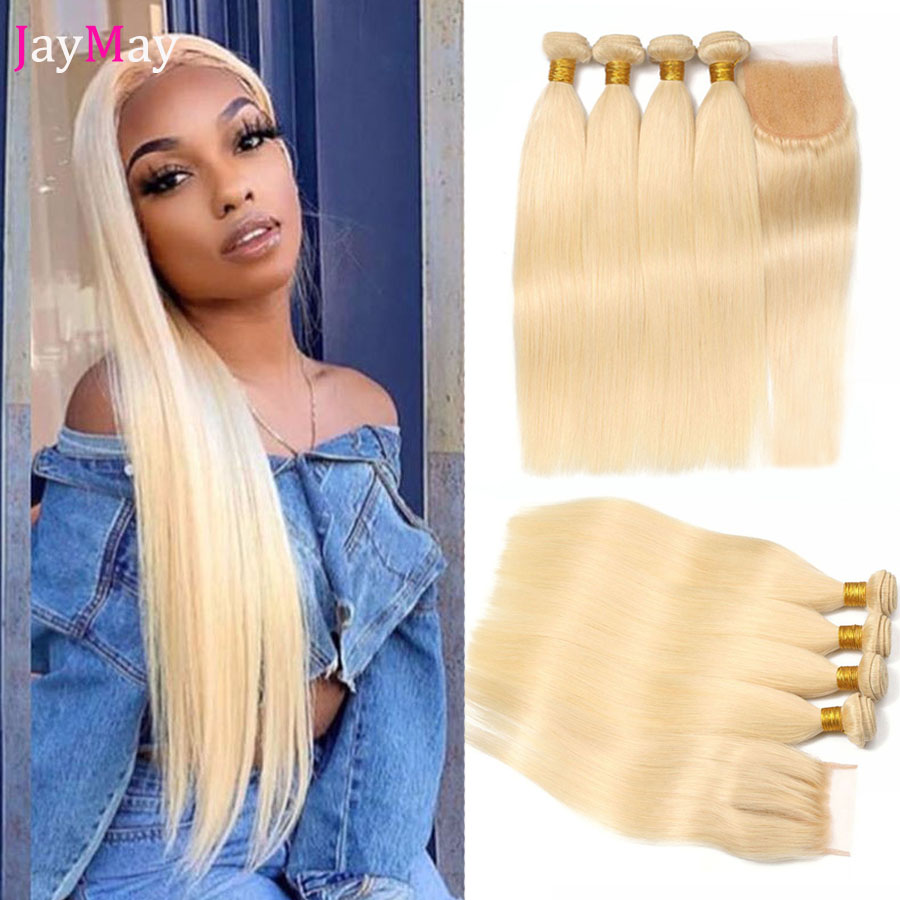 JayMay 613 Blonde Bundles with Closure 브라질 스트레이트 헤어 번들, 투명 레이스 5x5 Closure with Bundles image