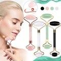 Jade Stein Rollen Massager Für Gesicht Rosa Rose Quarz Naturstein Abnehmen Chin Lift Up Gesichts Gesichts Schönheit Walze Haut pflege