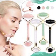 Rodillos de piedra de Jade para masaje Facial, Piedra Rosa de cuarzo Natural, para adelgazar la barbilla, estiramiento Facial, cuidado de la piel