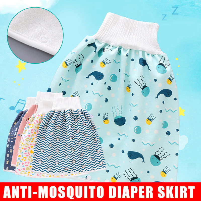 Childrens Diaper Shorts 2 in 1,Comfy Waterproof and Absorbent Leak-Proof High Waist Belly-Protecting Cartoon Pants for Baby Toddler 0-4/ years, F