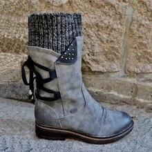 2020 New Warm Winter Snow Boots Women Zipper Fashion PU Leather Mid-Calf