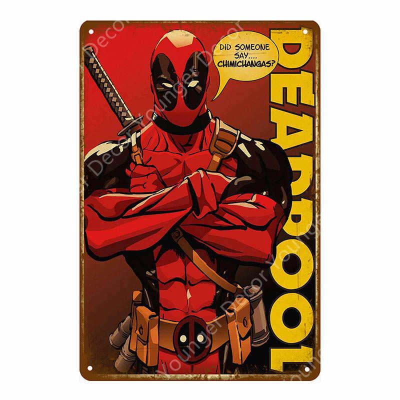 Retro cómic superhéroe película de deadpool Poster Vintage Metal signos decorativo Café Bar Placa de pintura decoración para el hogar etiqueta engomada de la pared