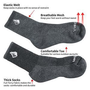 Image 3 - YUEDGE Men Comfortabl Breathable Cotton Cushion Black Crew Athletic Training Trekking Hiking Sports Socks 6 Pairs 38 47 EU