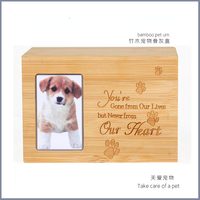 Bamboo and wood pet urn pet cat dog animal funeral supplies pet memorial mini urne Photo bit container for ashes bury coffin box