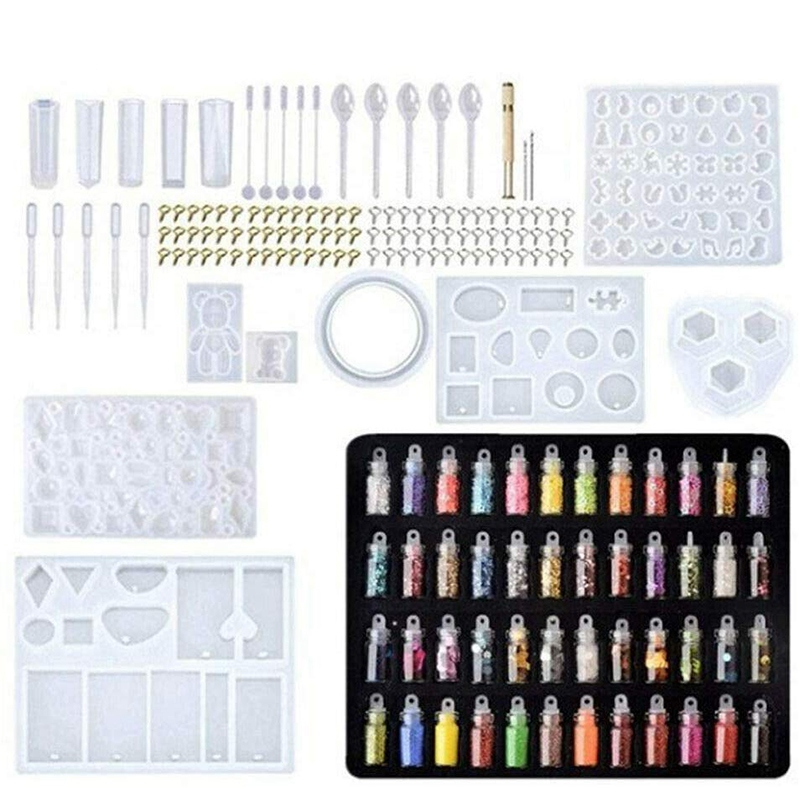 Handmade Crystal Glue Mould Mold Set Resin Jewelry Mold Kit (277 Pcs)