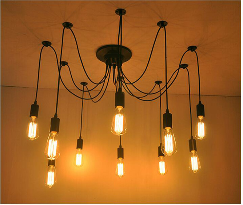 DIY Pendant Lights Modern Retro Hanging Lamps Edison Bulb Fixtures Spider Ceiling Lamp Fixture Light For Living Room Home Decor