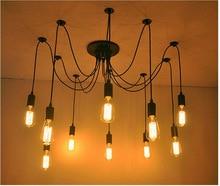 DIY kolye ışıkları Modern Retro asılı lambalar Edison ampul armatürleri örümcek tavan lamba aksesuarı ışık oturma odası ev dekor için