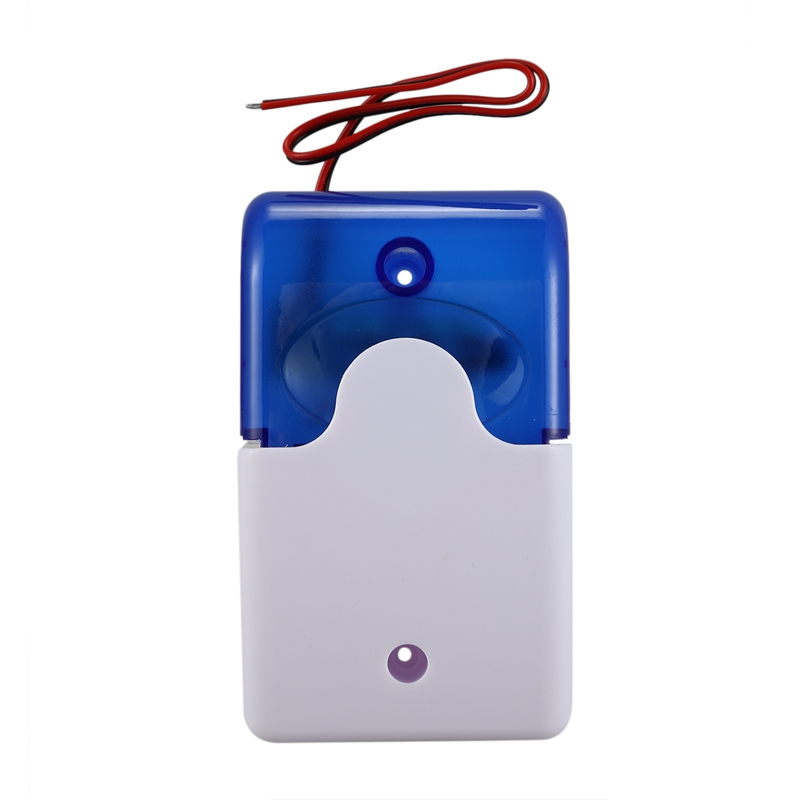 Mini Wired Strobe Warning Siren Durable Dc 12V Sound Alarm Flashing Light Sound Siren Horn Home Security Alarm System 115Db Blue