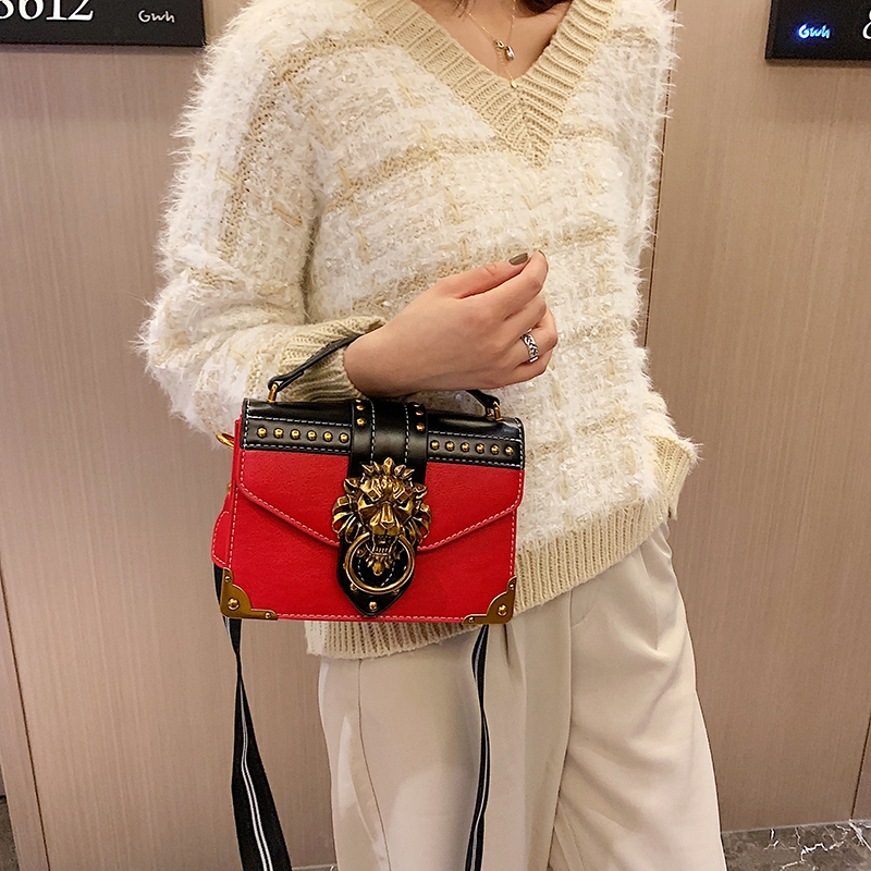 H931db208ef9141f19507d4a1057a8e571 - Female Fashion Handbags Popular Girls Crossbody Bags Totes Woman Metal Lion Head  Shoulder Purse Mini Square Messenger Bag
