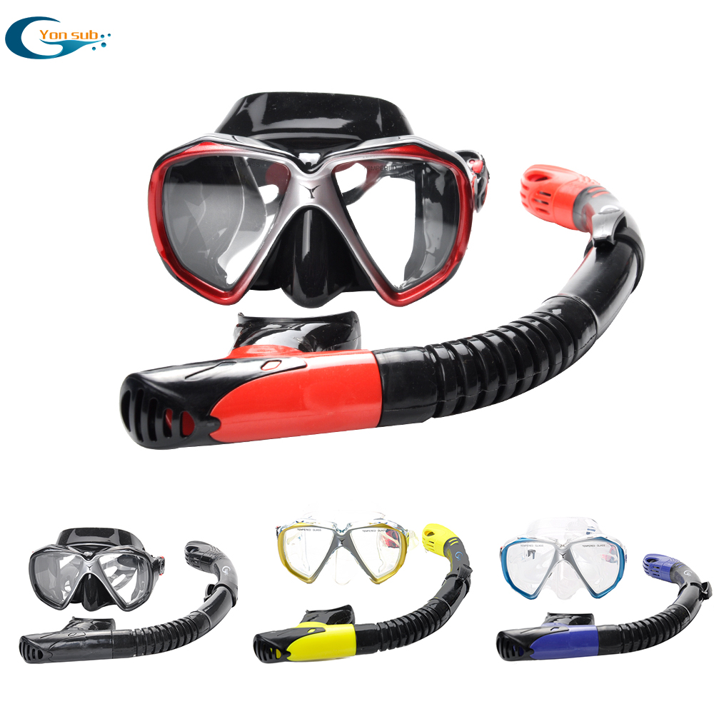 Conjunto com Caixa Máscara de Equipamento de Mergulho Máscara de Mergulho + Tubo Yonsub Mergulho Caça Submarina Máscara Anti Nevoeiro Subaquática Lente Miopia Óptico