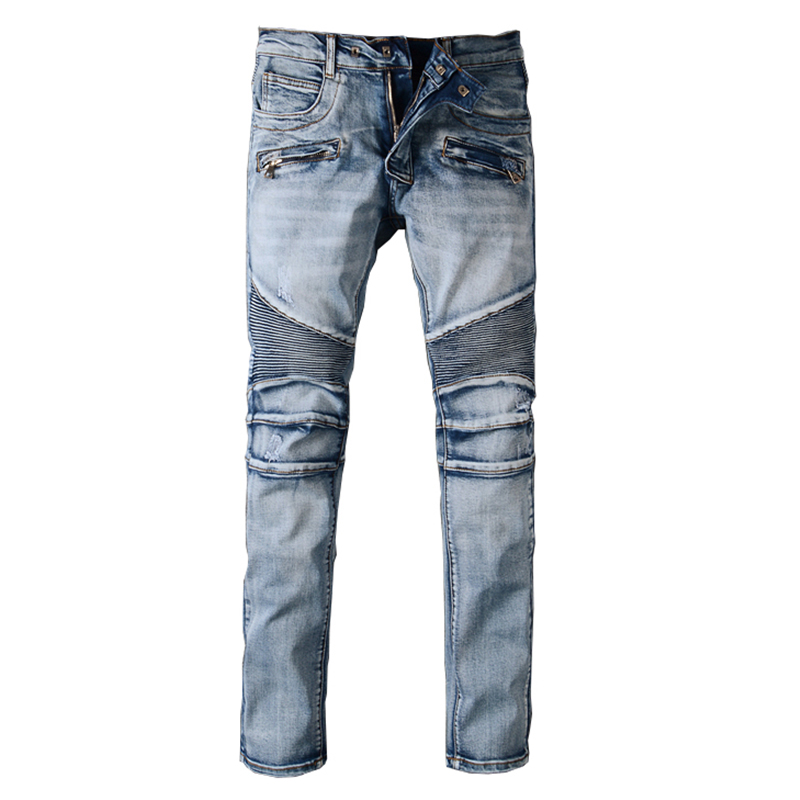 Sokotoo Men's Slim Fit Classic Blue Biker Jeans For Moto Casual Plus Size Denim Cargo Pants Fashion Ripped Jeans For Man