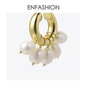 Image 5 - ENFASHION Natürliche Perle Hoop Ohrringe Für Frauen Gold Farbe Nette Kleine Kreis Hoops Ohrringe Modeschmuck Ohrringe E191117
