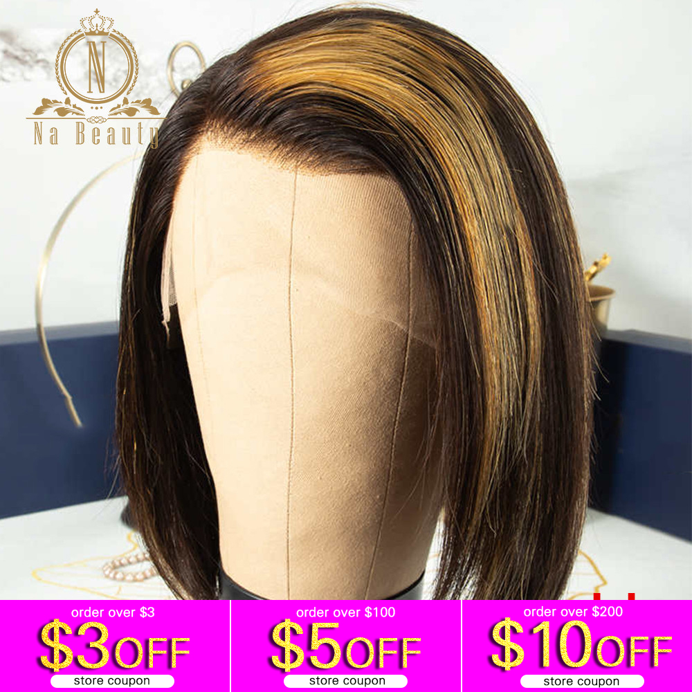 Honey Blonde Highlight Wig 13x6 Lace Front Human Hair Wigs Short Bob HD Transparent Lace Wig Preplucked Ombre Color Nabeauty 150