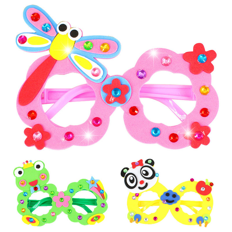 4Pcs/set Colorful DIY EVA 3D Diamond Glasses Handmade Paste Stickers Toys For Girls Boys Kindergarten Art Crafts Toy Glasses