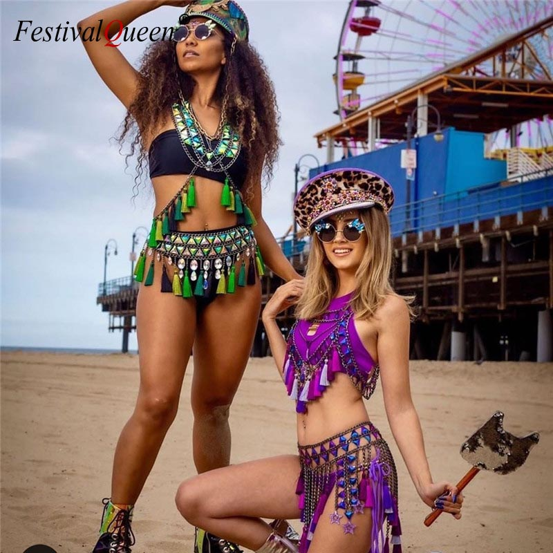 Shiny Blue Gems Colorful Tassels Two 2 Piece Set Women Sexy Halter Crop Top Link Chains Tassel Hollow Skirt Summer Beach Outfits
