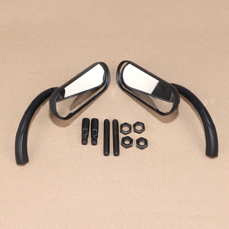 Mini espejo ovalado izquierdo + Derecho + tornillos roscados para motocicleta Harley Sportster Dyna Glide, 1 par