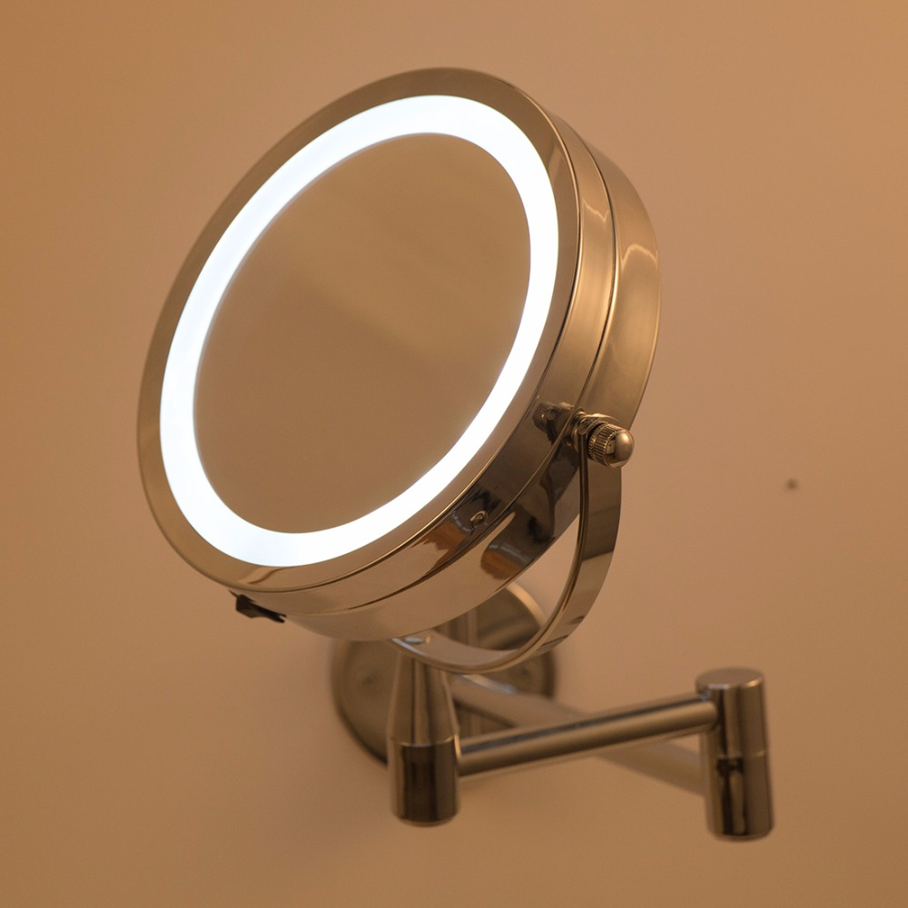 GLAMO Bath Mirror Led Cosmetic Mirror 1X/3X Magnification Wall Mounted Adjustable Makeup Mirror Dual Arm Extend 2-Face Bathroom Mirror 1