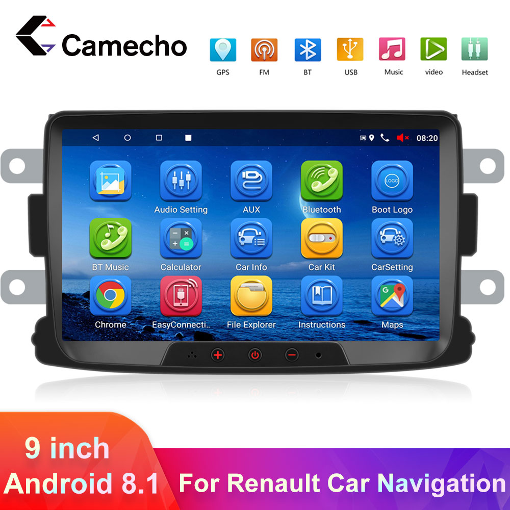 Camecho 2din Android 8,1 Auto Radio Multimedia Player 9''GPS Autoradio auto store Für Renault Sandero LOGAN II Duster <font><b>Dacia</b></font> DOKKER image
