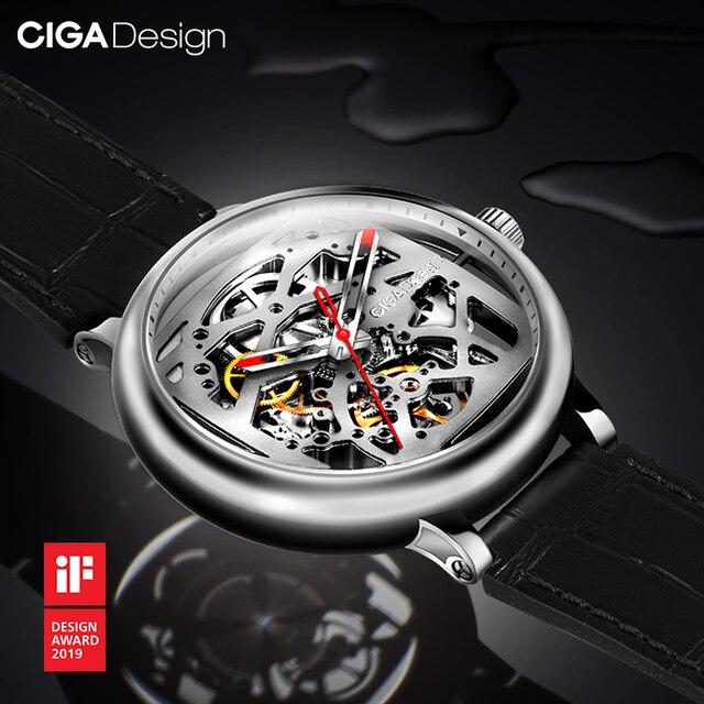 Ciga Ontwerp Automatische Mechanische Hollow Horloge Skeleton Rvs Saffier Diamanten Horloge