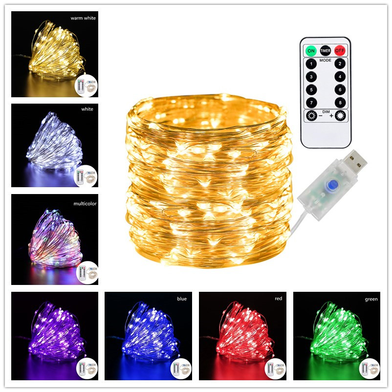 5m 10m 20m  LED Fairy Lights Garland Remote Control USB String Lights New Year Christmas Decorations for Home Christmas Lights