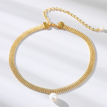 Viennois Pearl Choker Necklaces For women Simple round freshwater Gold Plated Necklace 2020