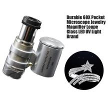 Durable Fashion Creative Mini 60x Handheld Microscope Pocket Loupe Currency Detecting LED UV Light Jewelry Magnifier Brand New цена и фото
