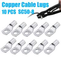 10Pcs Cable Lugs Terminal SC50-8 Silver Copper Connector for Electrical Battery Welding Wire 1/0 AWG Hole 8mm Cable Lugs Set
