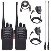 2Pcs BF888S BF 888S Baofeng Walkie Talkie UHF Rádio Em Dois Sentidos Handheld Comunicador de Rádio 888S Transmissor Transceptor + 4 fones de ouvido
