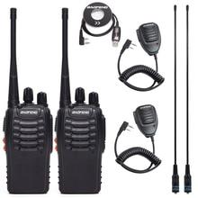 2Pcs Baofeng BF 888S Walkie Talkie UHFวิทยุBF888Sวิทยุมือถือ 888S Comunicador Transmitter + 4 ชุดหูฟัง