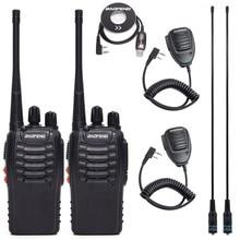 2Pcs BF888S BF-888S Baofeng Walkie Talkie UHF Rádio Em Dois Sentidos Handheld Comunicador de Rádio 888S Transmissor Transceptor + 4 fones de ouvido