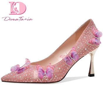 Doratasia 2020 Top Quality Brand Design Flowers Sheep Suede Leather High Heels Party Wedding Pumps Women Shoes Woman
