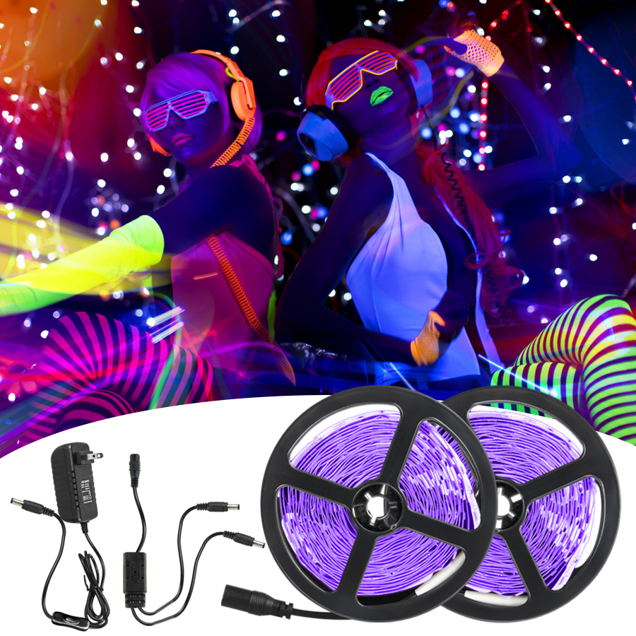 UV LED Light Strip Flexible LED Strip Light Ultraviolet UV Lamp 385 400nm Black Light 2835 SMD DC12V LED Ribbon For Glow Party|LED Strips|   -