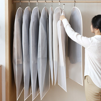 Clothes Hanging Garment Bags Clothes Suit Coat Dust Cover Home Storage Bag Dustproof Cover Clothes Bag Wardrobe Hanging Clothing 3pcs clothes dust cover dustproof garment cloth storage waterproof suit coat protector storage bag hanging organizer wardrobe