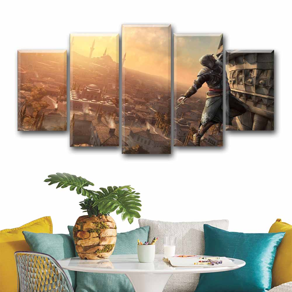 5 Pieces Wall Poster Assassins Creed Canvas Art Painting Tableau Game Picture Posters Decoracion Hogar Nordico Room Decor image