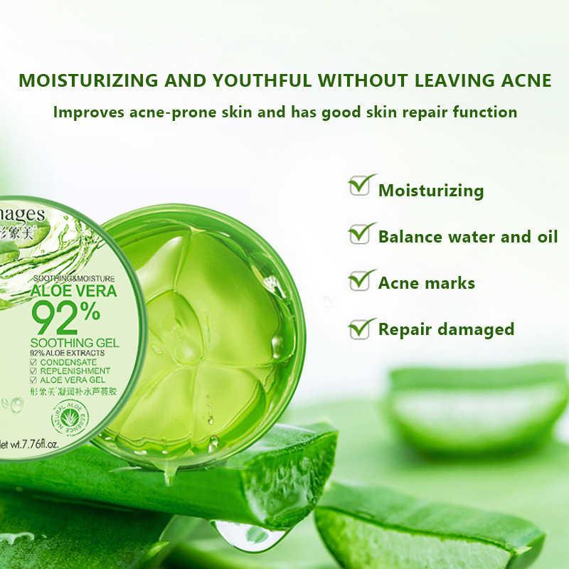 92% Gel calmante de Aloe crema facial de Aloe Vera cuidado de la cara Natural crema hidratante tratamiento de acné Gel para la reparación de la piel Natural 220g