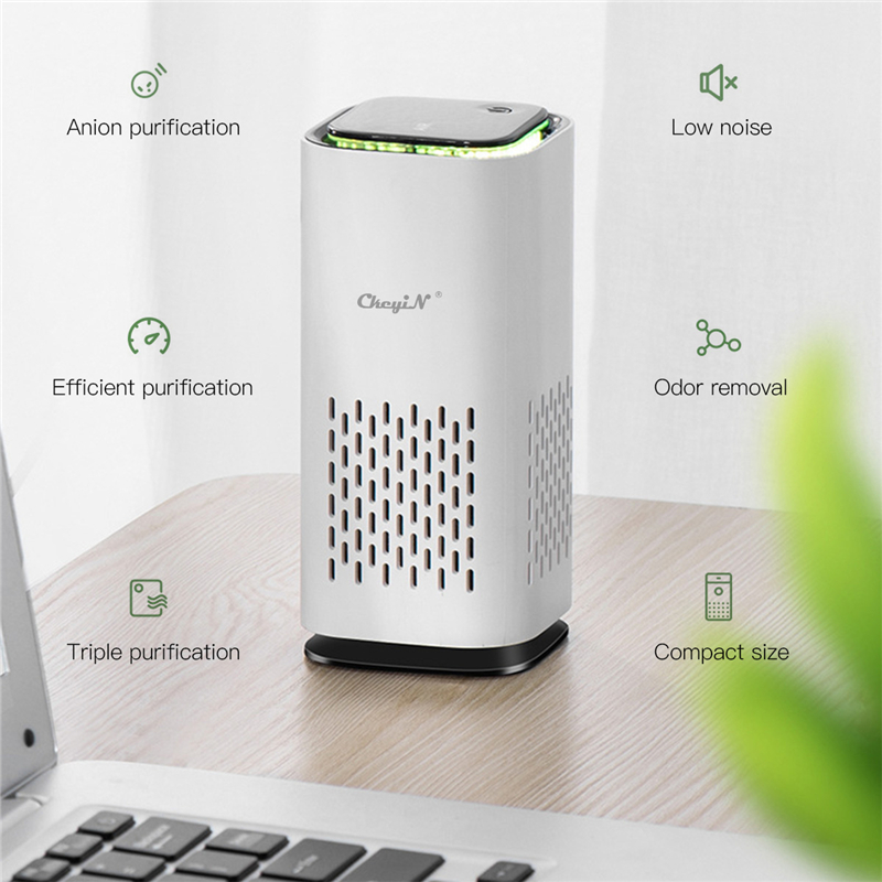 USB Air Purifier Anion Air Purification Activated Carbon Air Freshener Ionizer Cleaner Dust Cigarette Smoke Remover 7 Lights