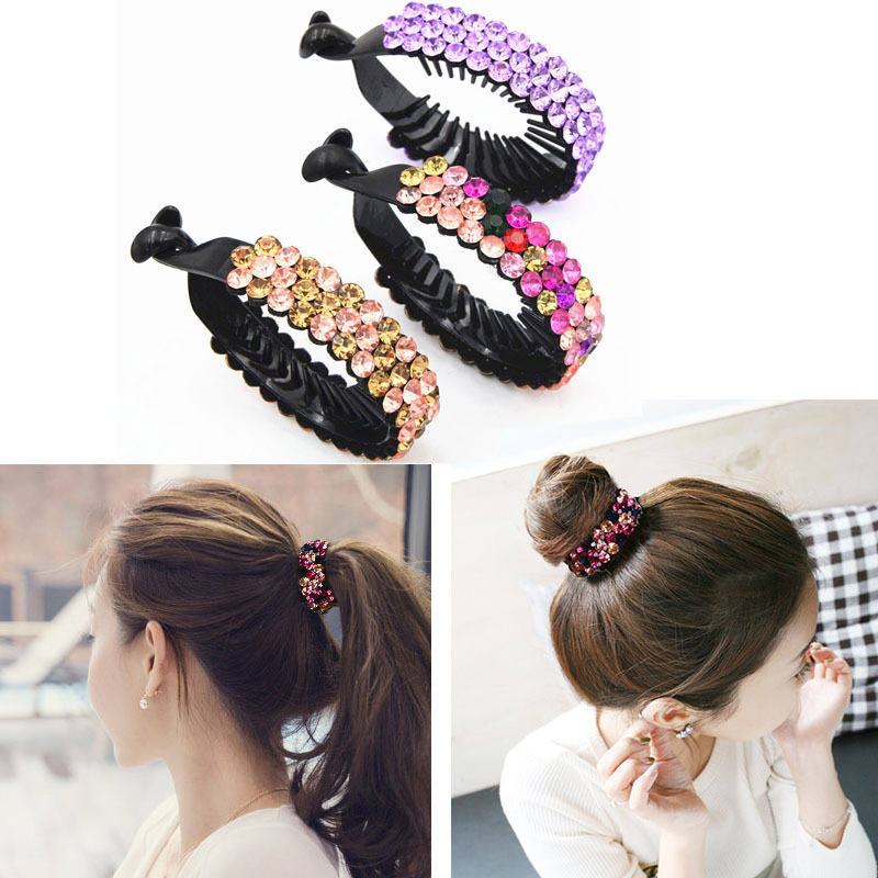 New 8cm Hairpins Banana Clips Horsetail Grab Crystal Rhinestone Hair Cilps Hairgrips