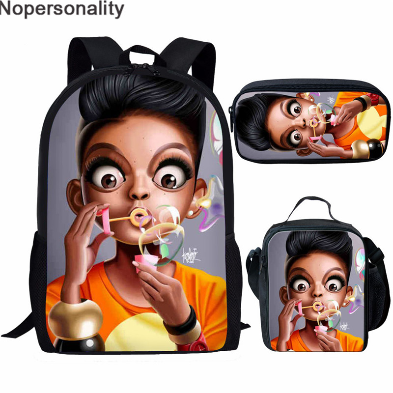 Nopersonality Art Lady Black Queen African American Girls Printing Teenage Girls Bookbag Children Schooltas Kids Schoolbags