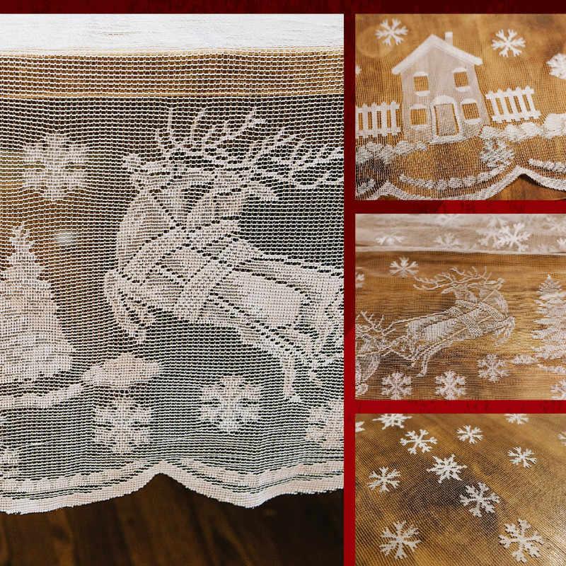 Enipate 메리 크리스마스 화이트 레이스 식탁보 산타 클로스 엘크 테이블 천으로 식탁 커버 파티 룸 웨딩 홈 장식