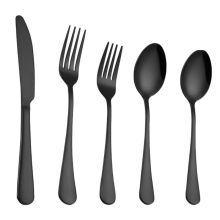 Black Color Stainless Steel Silverware Set Knife Fork Spoons Serve 5pcs/set