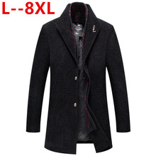 10XL 8XL 6XL 5XL Mens Wool Coat Winter Warm Solid Color Long Trench Ja