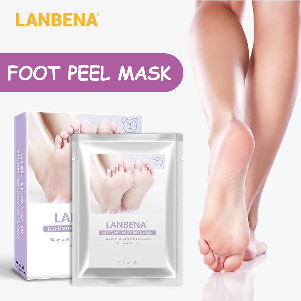 LANBENA Lavender Foot Peel Mask Only Need One Pair Remove Dead Skin Thoroughly In 2-7 Days Foot Mask Peeling Cuticles Heel