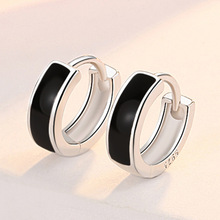 XIYANIKE 925 Sterling Silver Black Round Earrings Female Fashion Jewelry Retro Beautiful And Elegant Hypoallergenic Wholesale