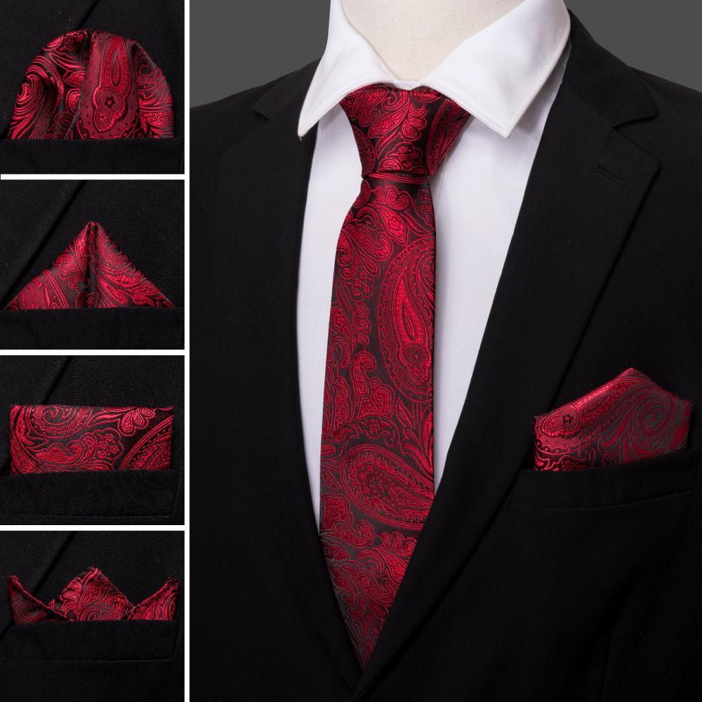 Rust Red Wedding Slik Ties For Man Paisley Floral Neck Ties Set Jacquard Fire Red Krawatte Party Gift Box Set Barry.Wang LS-5148