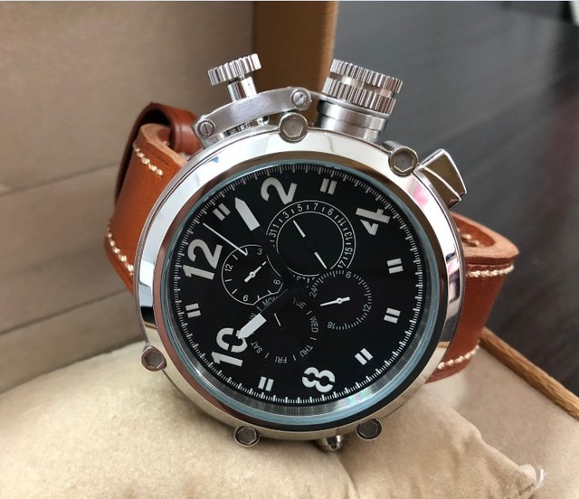 50mm GEERVO  right hand style  crown black dial Automatic Self-Wind movement Auto Date Mens watch cow Leather strap PA169-P8