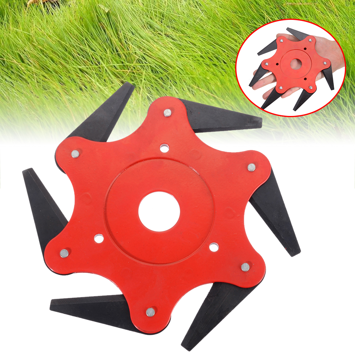 6 Steel Metal Blades Razors Trimmer Head 65Mn Trimmer Blade Garden Grass Trimmer Head Lawn Mower Cutter